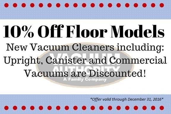 Save $10 off Floor Models at Vacuum Authority Stores in KY, IN & WV