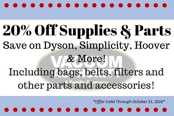 Vacuum Authority store coupon save on parts