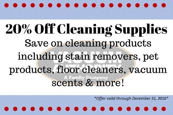 Save 20% Off Cleaning Supplies at Vacuum Authority stores