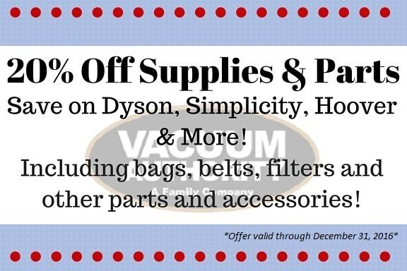 Save 20% off Supplies and Parts for Vacuum Cleaners by All the Brands