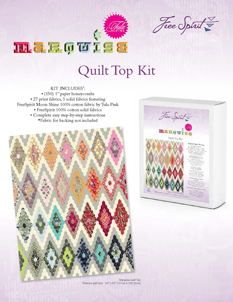 Marquise Pre Cut English Paper Piecing Quilt Top Kit By