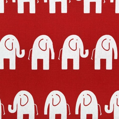 Red With White Elephant Print Cotton Decor Fabric