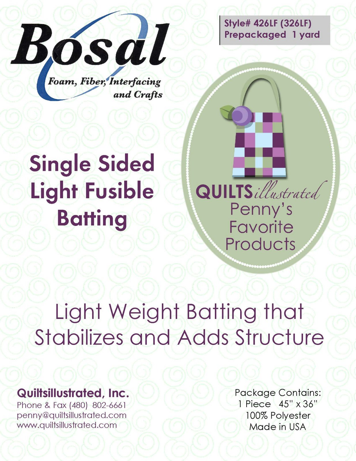 Bosal (326LF)426LF Light Fusible Batting, 1 yard package