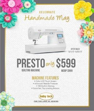 Babylock Presto May 2017 Special Promotion