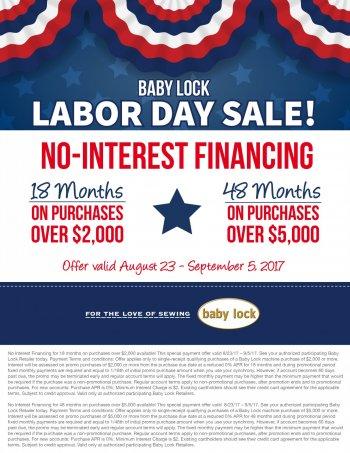 Babylock August & Sept specials