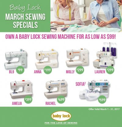 Baby Lock A Line March sewing specials