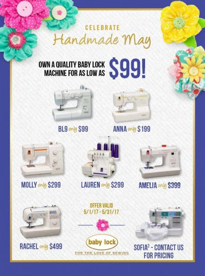 Babylock  May Sewing machine specials