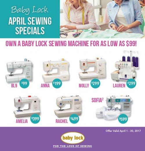 Babylock april 2017 sewing specials