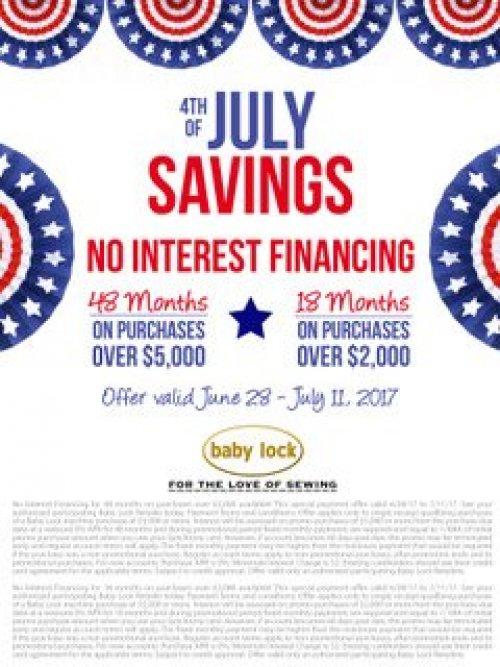 July Baby lock Financing Specials