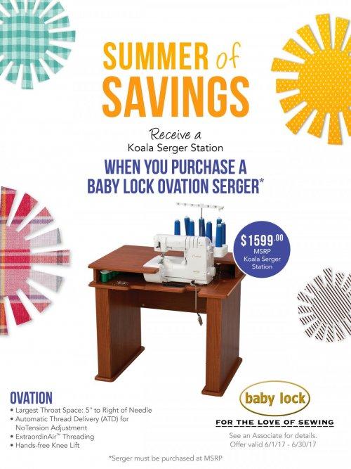 Babylock Ovation June 2017 special