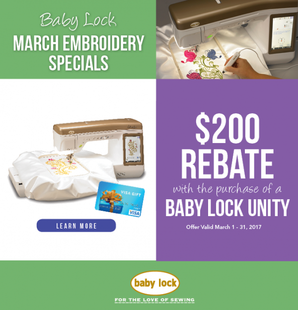 National Quilting Day, Baby Lock Unity special