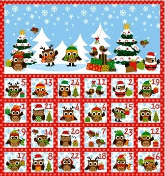 Northcott - Holiday Hoot - Panel Advent Calendar with dates