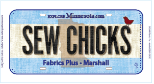 Sew Chicks 2016 Row by Row License Plate
