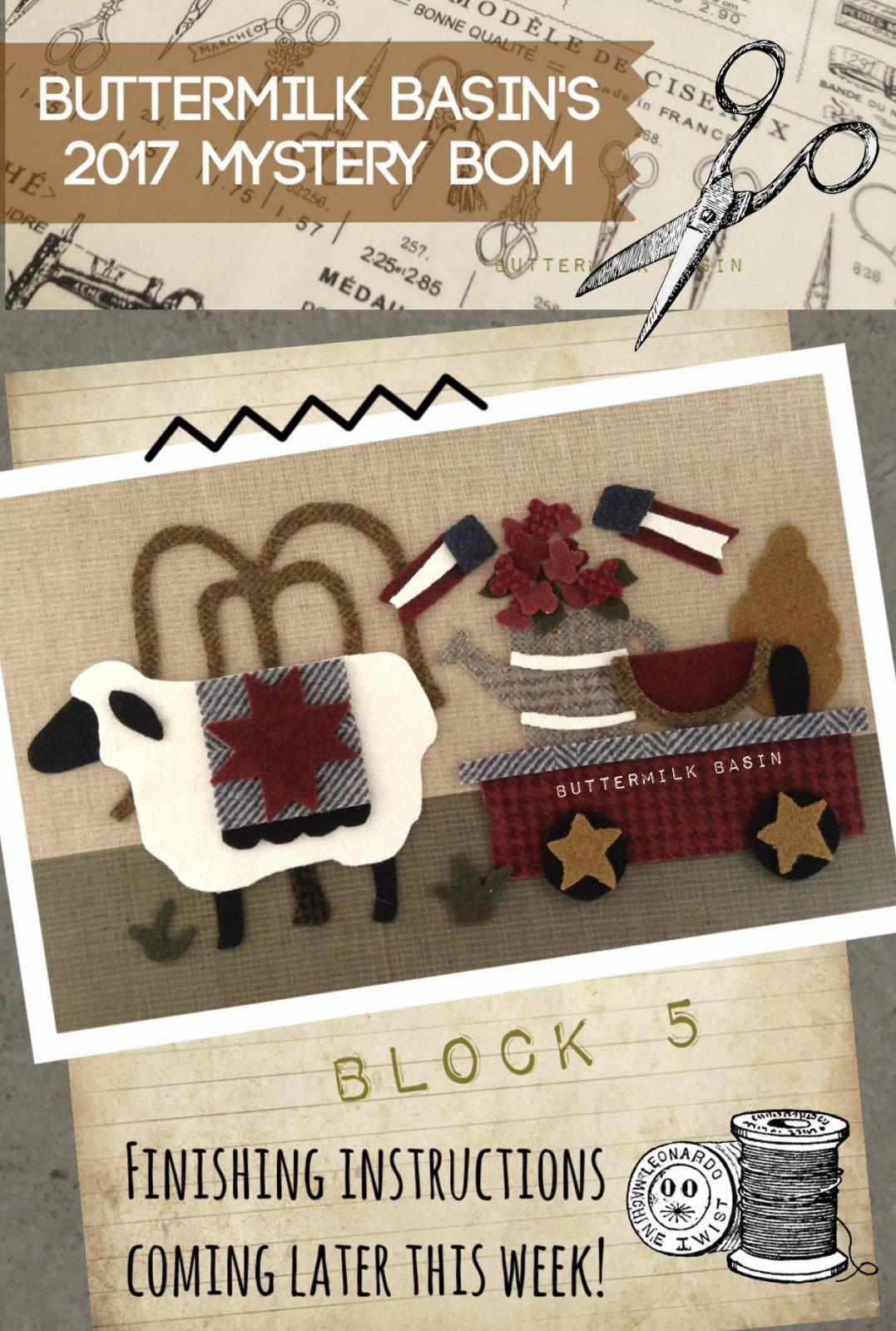 LIVE EACH SEASON Block 5 WOOL & Fabric KIT & Pattern