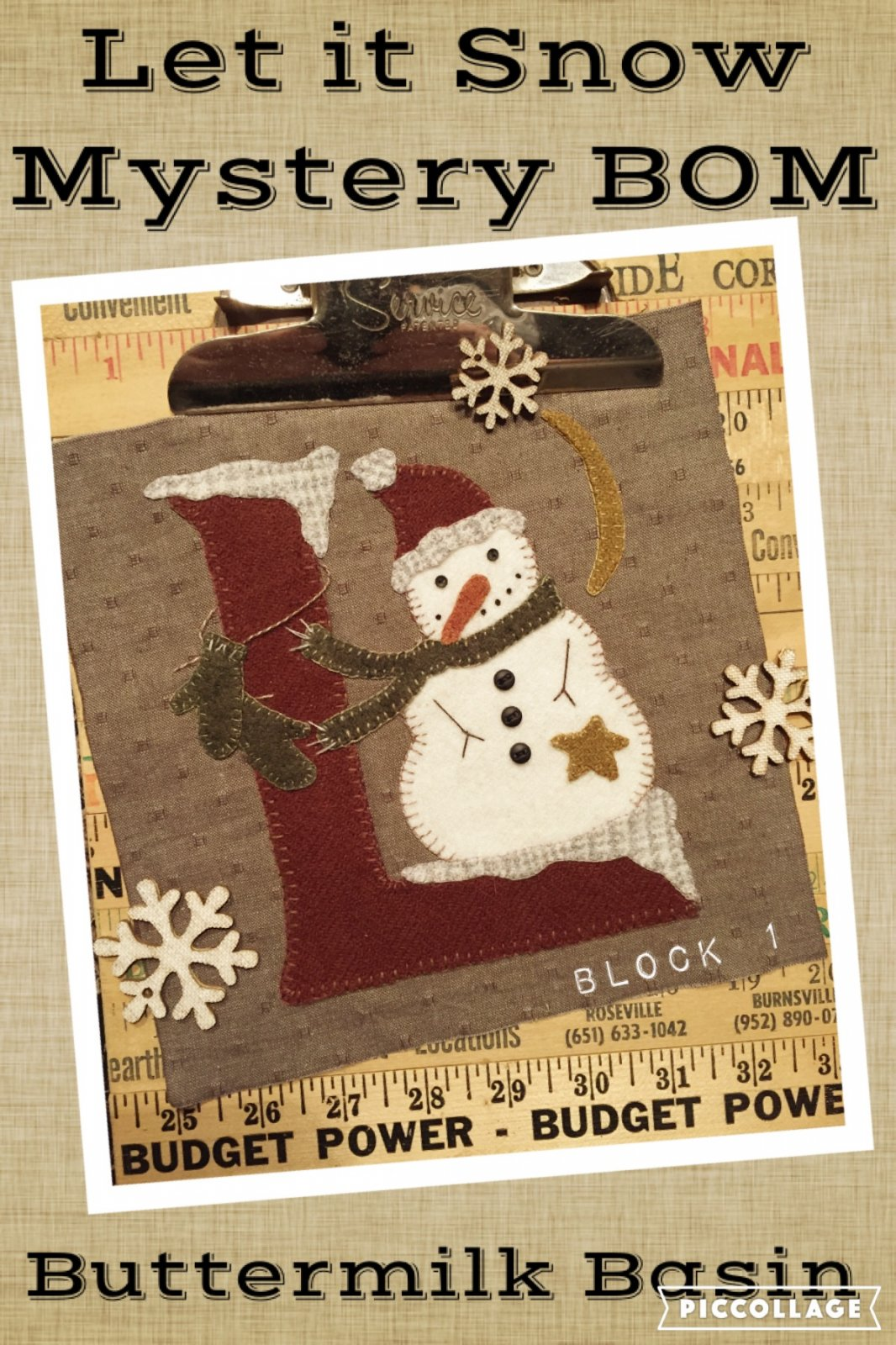 Let it Snow Mystery Block 1 (L) * Pattern & Kit