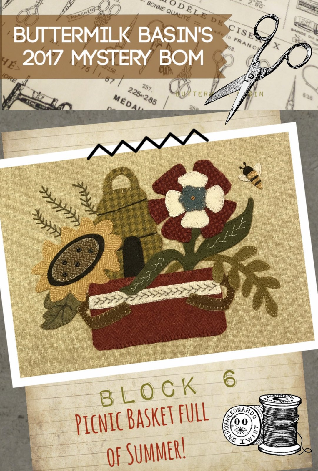 LIVE EACH SEASON Block 6 WOOL & Fabric KIT & Pattern