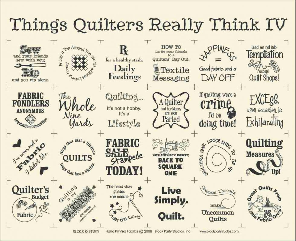 Things Quilters Really Think 4 Panel (white)