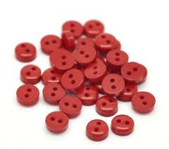 Red Round 2 Hole Button 8mm