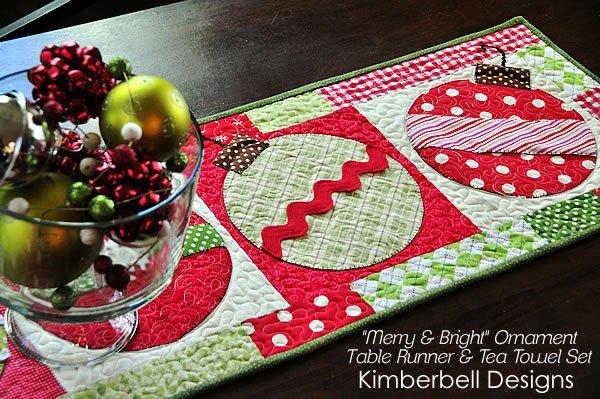 Merry & Bright Ornament Tablerunner Kit + Pattern