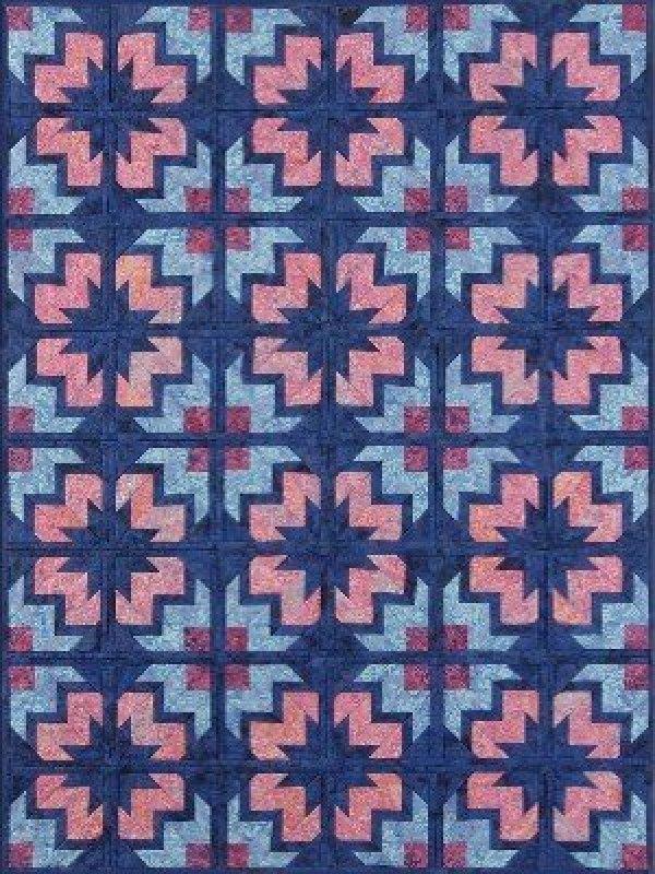 Pinwheel block from multiple strips