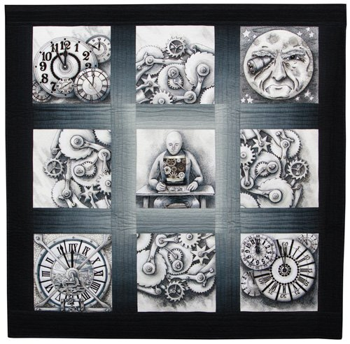 Art Quilts, Representational, 1st Place: 'The Value of Gears' by Judith Phelps