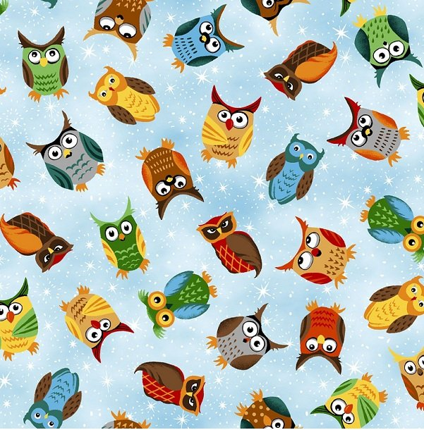 120-7061 blue background/colorful owls