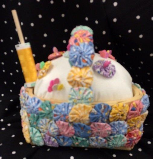 yoyo sewing basket/candle holder pattern