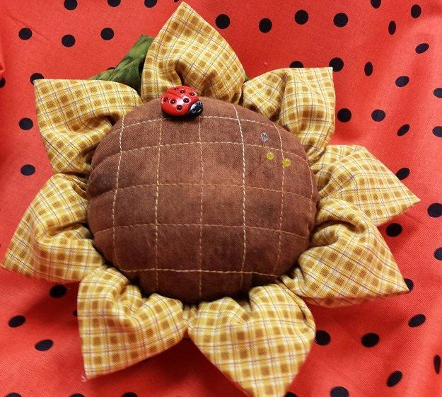 Sunflower petal pin cushion