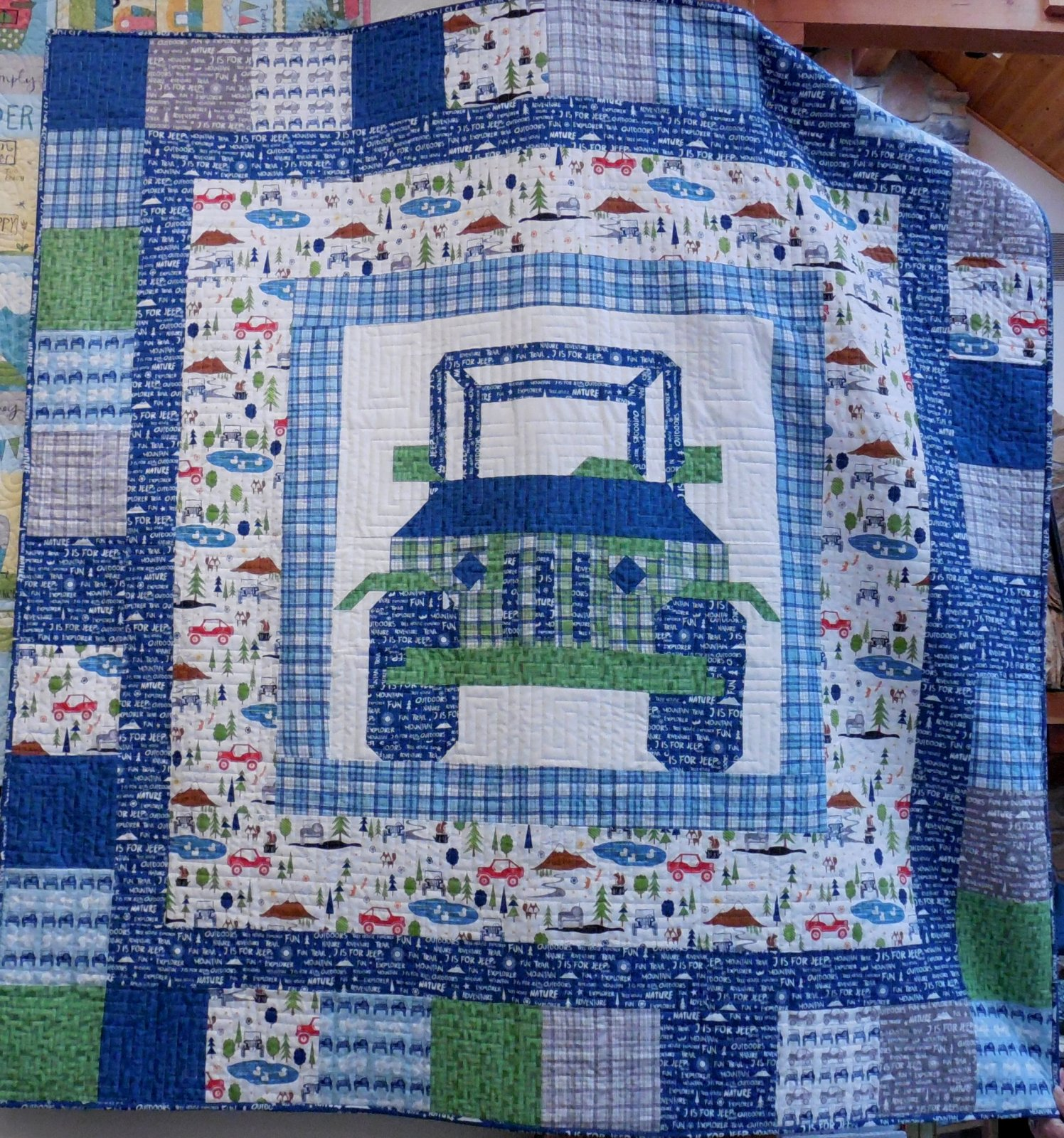 Off Road Quilt Kit - 60 x 60 - J is for Jeep in Blue