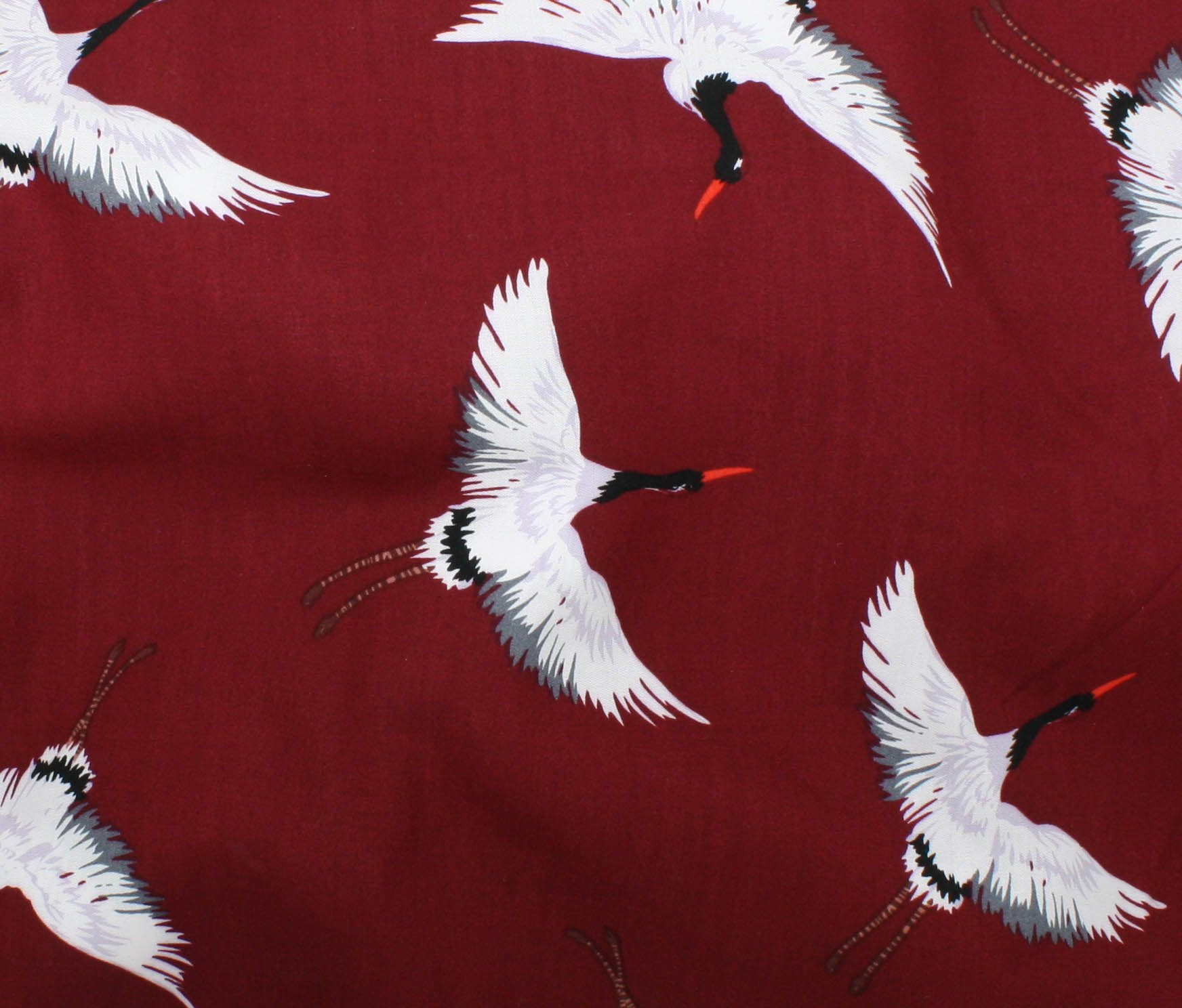 Rayon Challis Crane Print - Red