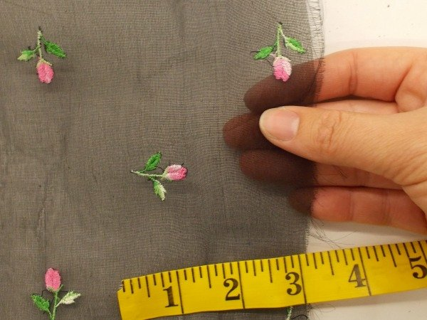 Embroidered rose buds silk organza black