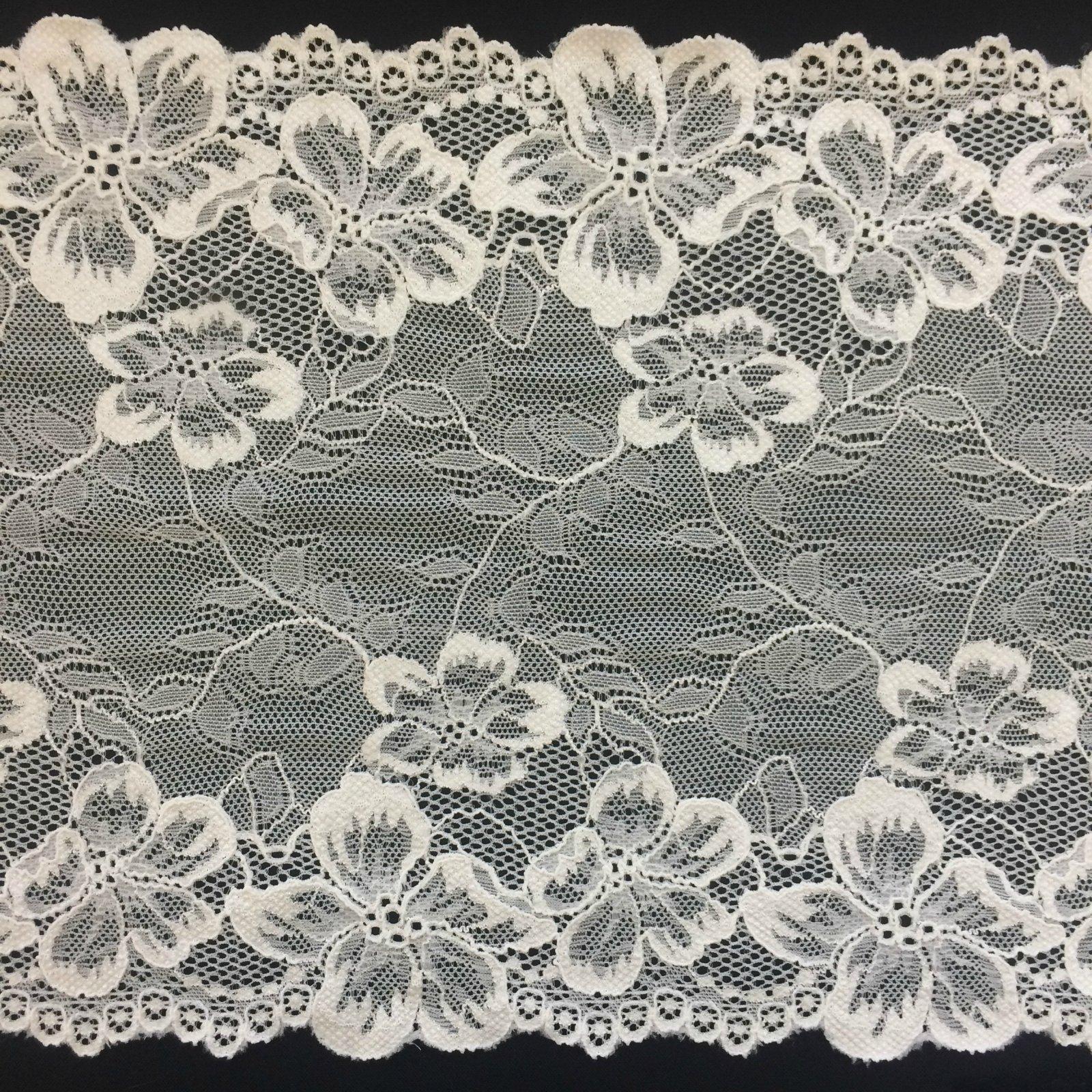 8 5/8 Wide Stretch Floral & Vine Lace Trim - Ivory