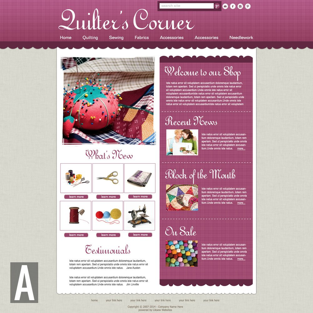 Quilting Website Templates : Quilting & Sewing Website Templates