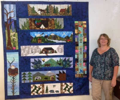 Lynda Rygmyr wins prize at Patchwork Quilts for first completed Row by Row 2016 quilt