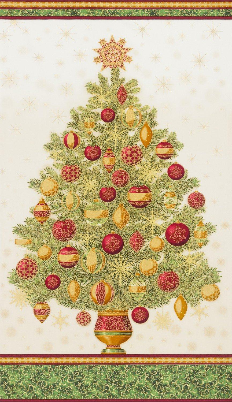 Winter's Grandeur Holiday Christmas Tree PANEL