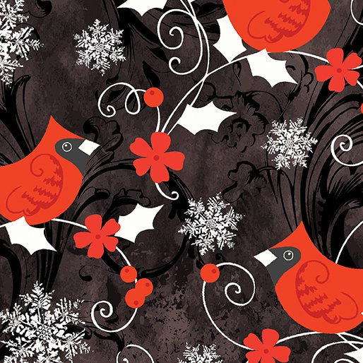 Winter Story- Red Cardinal Black