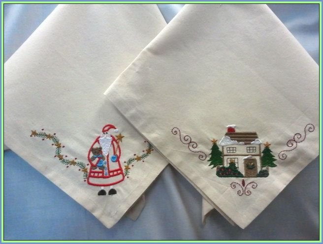 Christmas napkins machine embroidered