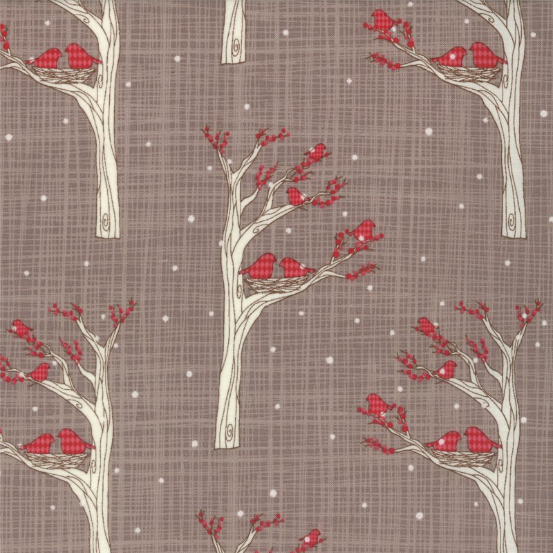 Winter's Lane  Argyle Birds Grey by Moda #13092-15 Grey Fabric with Red Birds in White Trees