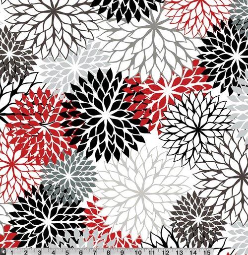 Hello Dahlia Red Black White Amp Grey Classic Print