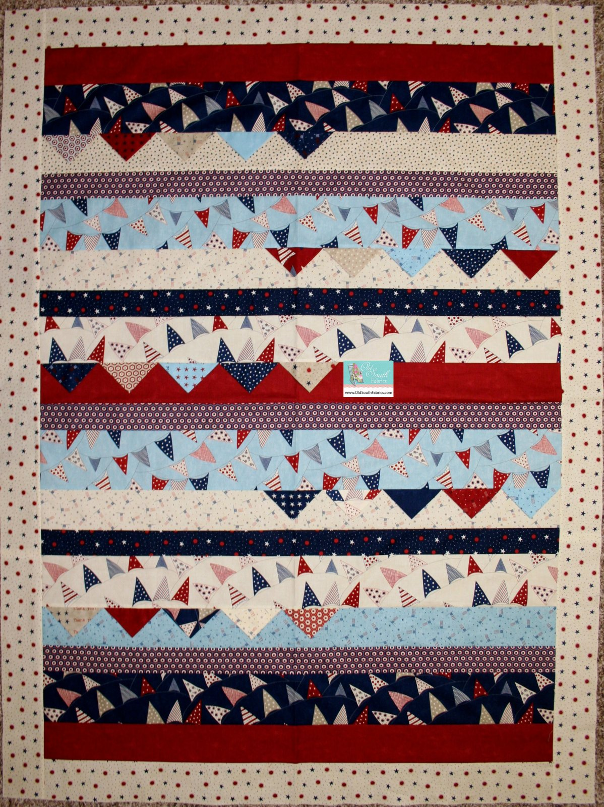 Red White and Free by Moda Quilt Kit with Backing Binding and Pattern
