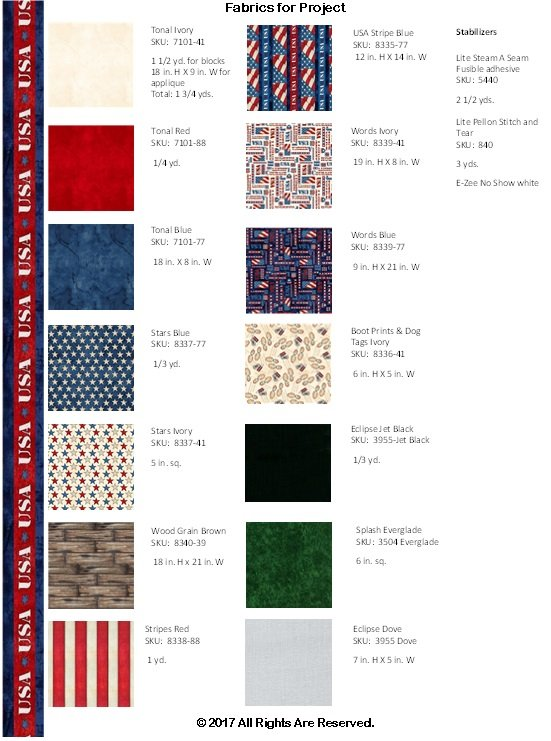 American Honor Applique Fabric Kit