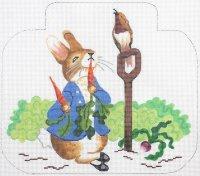 Rabbit On Painted Needlepoint Canvas