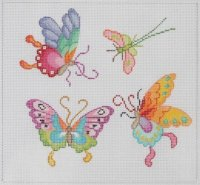 Butterflies On Painted Needlepoint Canvas
