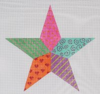 Star On Painted Needlepoint Canvas