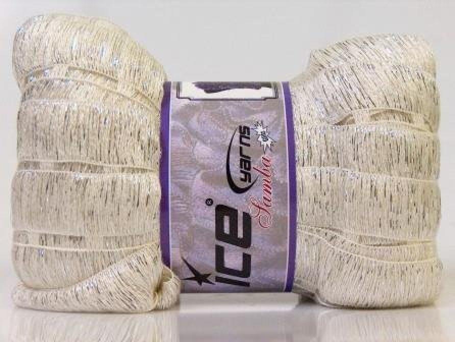 ice ruffle scarf yarn  samba  white with metallic silver  yarn  knitting  glitz  novelty  sku  21622