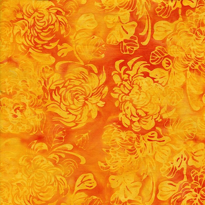 Wall Of Light Orange Yellow : Orange and Light Yellow Mums Batik - 121412249