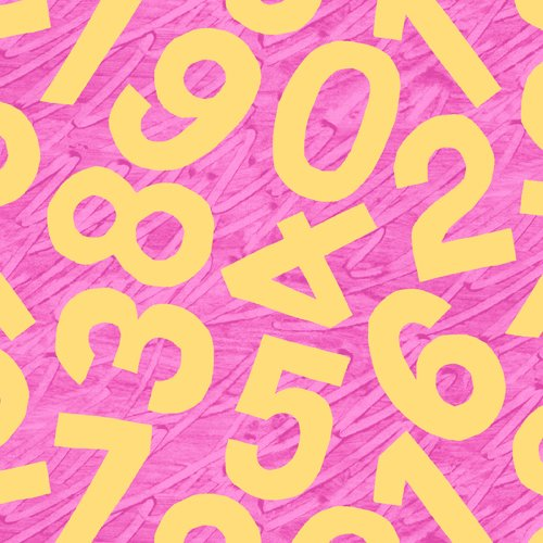 Yellow Numbers on Pink - A-3475-EY