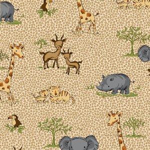 Tan Jungle Animal Flannel - 475-33