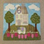 flying Flowers wool applique mat