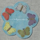 flying Flowers wool applique mat